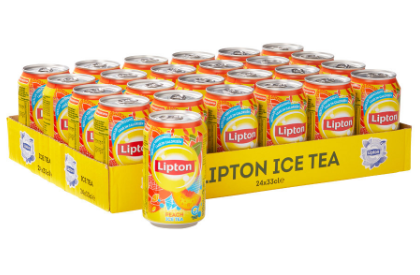 FRIS.Lipton Ice Tea No-Bubble Peach Blik/Tray 24x33cl.