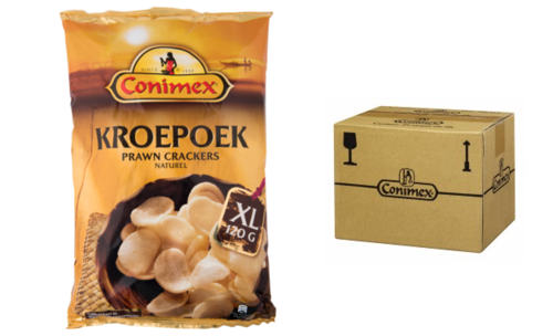 CHIPS.Kroepoek Naturel XL 12x120gram Conimex